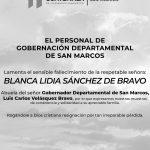 Fallece Blanca Lidia Sánchez de Bravo, Abuela del Gobernador Departamental de San Marcos